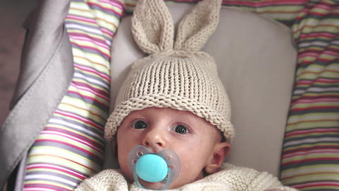 Newborn Baby With Bunny Hat Filmmaterial