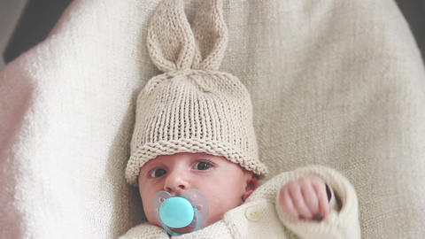 Newborn Baby With Bunny Hat Footage