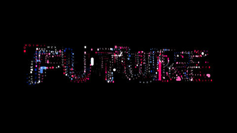 Letters are collected in text FUTURE, then scattered into strips. Bright colors Animation