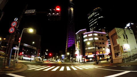 Tokyo city scenery. Intersection of the night Live Action