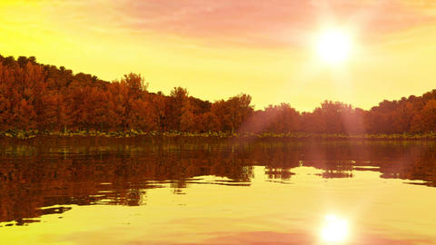 Sunrise near the lake and forest. Rewind for sunset. 3d render, 3d animation Animación