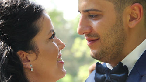 Bride And Groom Kiss and Smile Wedding Footage