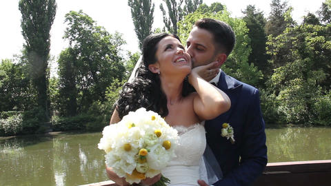 Bride and Groom Wedding Day Kiss Stock Video Footage