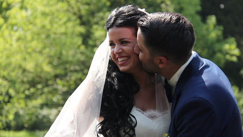 Wedding Day Bride and Groom Smile Footage