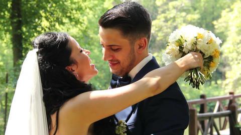 Wedding Kiss Bride and Groom Stock Video Footage