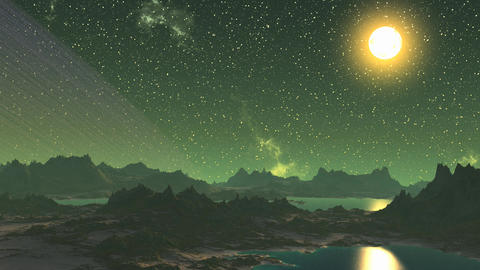 3D animation of fantasy green planet