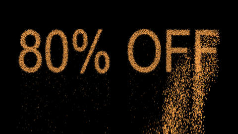 sale label 80% OFF appears from the sand, then crumbles. Alpha channel Animation