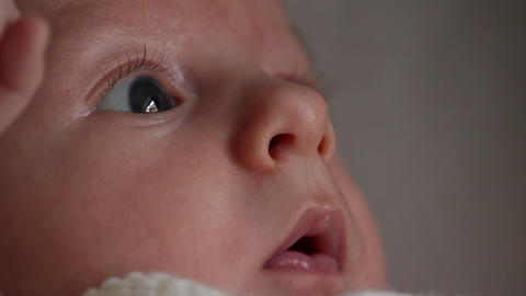 Portrait Of A Newborn Baby Closeup Footage