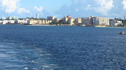 Bahamas Nassau Bay Street hotels from far seen from cruise vessel Footage