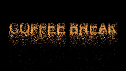 text COFFEE BREAK appears from the sand, then crumbles.…, Stock Animation