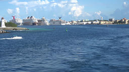 Bahamas Nassau port with big cruise ships and the Bay Street waterfront Footage