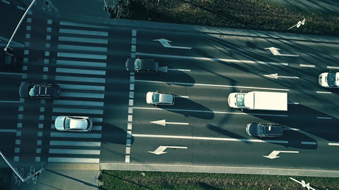 Aerial down view of major city street traffic Footage