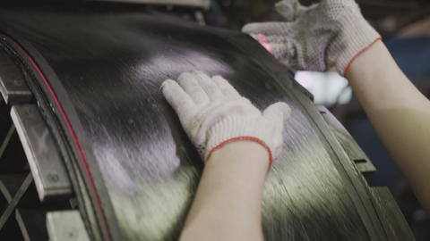 Worker Controls Rubber Canvas Supply Cuts Pieces Closeup Footage