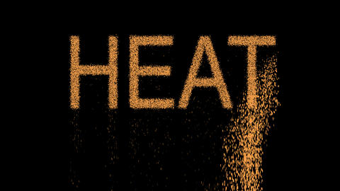 text HEAT appears from the sand, then crumbles. Alpha channel Premultiplied - Animation