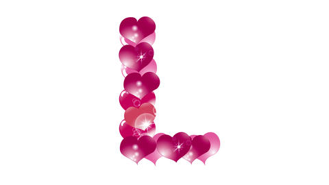 animation of hearts with highlights, appear and disappear form a letter L Animation