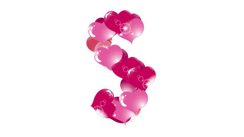 animation of hearts with highlights, appear and disappear, form a letter s Animation