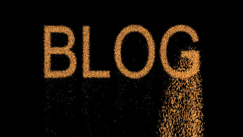 text BLOG appears from the sand, then crumbles. Alpha channel Premultiplied - Animation