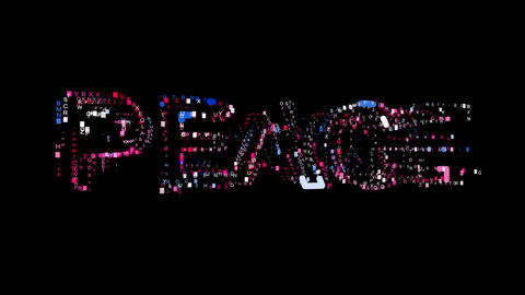 Letters are collected in text PEACE, then scattered into strips. Bright colors Animation