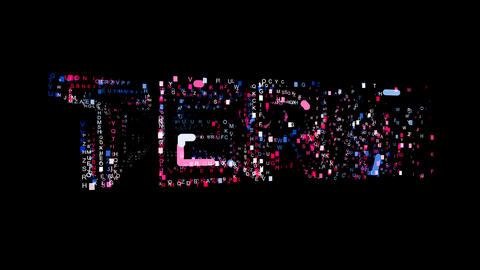 Letters are collected in text TERM, then scattered into strips. Bright colors Animation