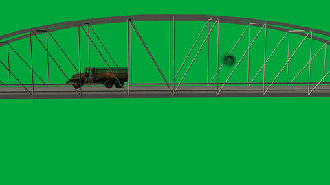 Army Truck Crossing Over Bridge with Artillery Hits (Loop + Matte) Animation