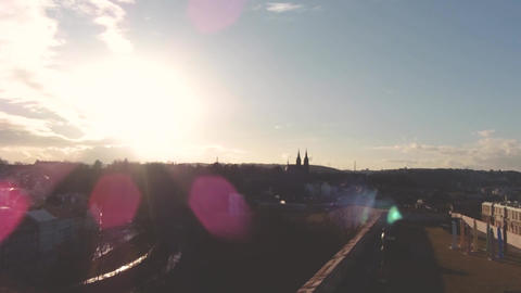 TimeLapse. Amazing view of the European city in the fall. Solar glare at sunset Footage