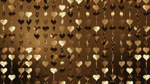 Animated background of golden hearts Archivo