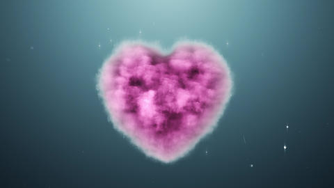 A cloud in the shape of a heart on a turquoise background Footage