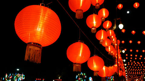 4K Chinese paper lanterns in the night decorated for Chinese new year Footage