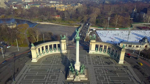 Budapest, Hungary - Aerial drone footage of famous Heroes' square and ice rink Footage