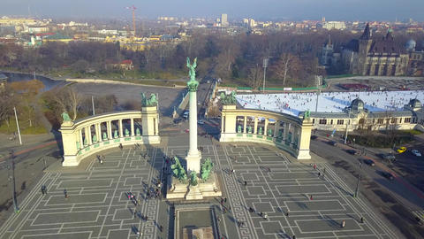 Budapest, Hungary - Aerial drone footage of famous Heroes' square and City Park Footage