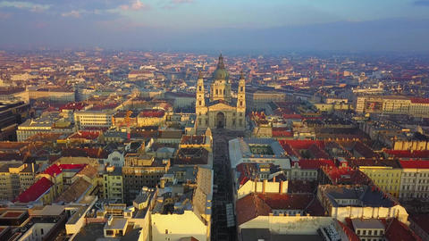 Budapest, Hungary - Aerial drone footage of the beautiful St.Stephen's Basilica Footage