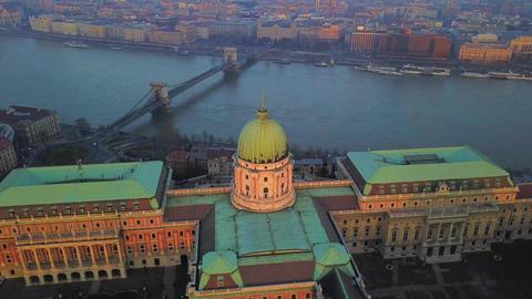 Budapest, Hungary - 4K aerial drone footage of Buda Castle Royal Palace Footage