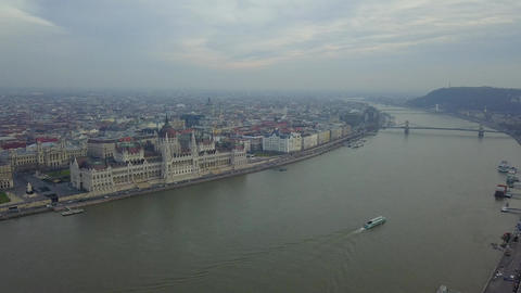4K aerial drone footage of the Parliament of Hungary and Chain Bridge Footage