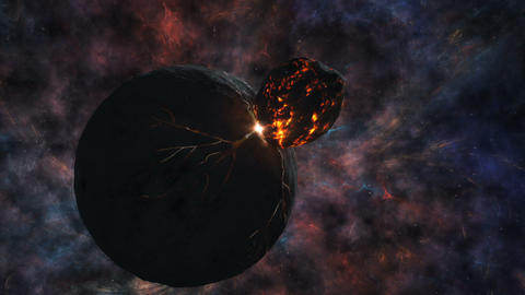 Clash of the planets and of the asteroid on the backdrop of the beautiful Animation