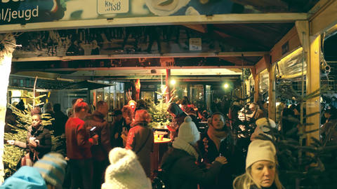 AMSTERDAM, NETHERLANDS - DECEMBER 28, 2017. Cristmas food and drink stalls on Footage
