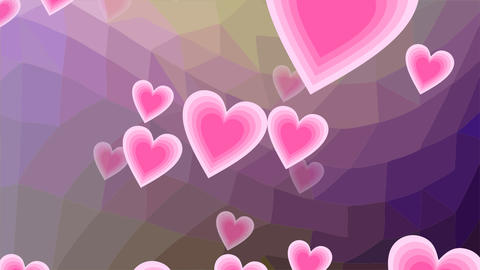 Flying pink hearts on violet polygonal bakcground. Cute animation spring time, Animation
