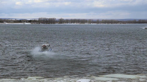 Passenger hovercraft departs from the shore Footage