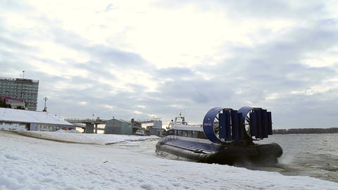 Passenger Hovercraft Departs From The Shore stock footage