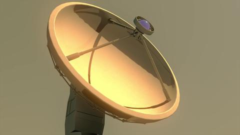 4K Astronomy Observatory Radio Telescope in the Sunset Sunrise 1 Animation