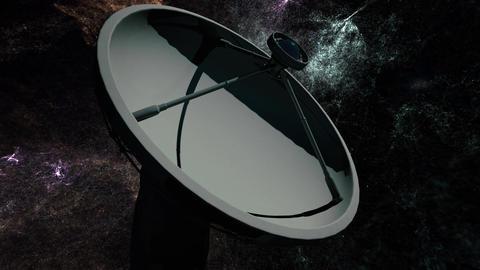 4K Astronomy Observatory Radio Telescope under Nebula at Night Animation