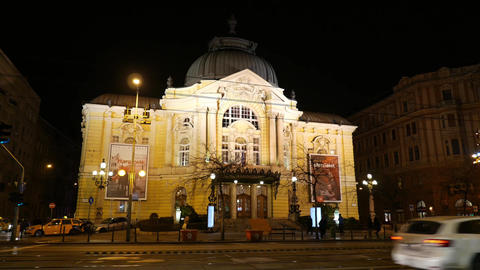 4K Comedy Theatre in Budapest Hungary at Night 1 Live Action