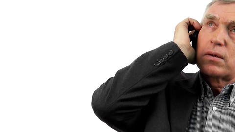 businessman talking on his mobile phone. Isolated on white background Footage