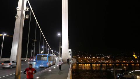 4K Elizabeth Bridge in Budapest Hungary at Night 1 Footage