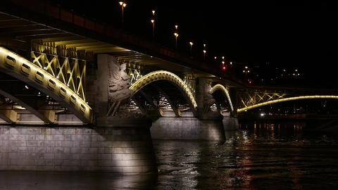 4K Margaret Bridge in Budapest Hungary at Night 2 Footage