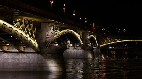 4K Margaret Bridge in Budapest Hungary at Night 2 Footage