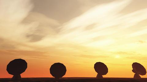 4K Radioantenna Observatory Dishes in the Sunset Sunrise 4 Animation