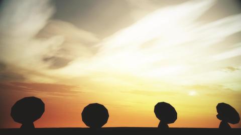 4K Radioantenna Observatory Dishes in the Sunset Sunrise 6 Animation