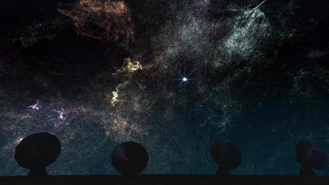 4K Radioantenna Observatory Dishes under Nebula at Night 2 Animation