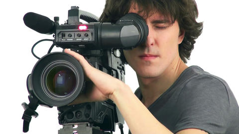 Professional cameraman, isolated on white background Footage