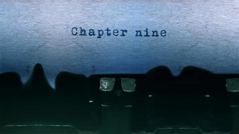chapter nine Word Typing Sound Centered on Sheet of paper on old Typewriter Animation